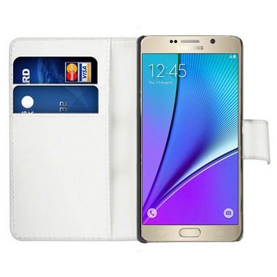 Microsonic Samsung Galaxy Note 5 Kılıf Cüzdanlı Deri Beyaz Cep Telefonu Kılıfı