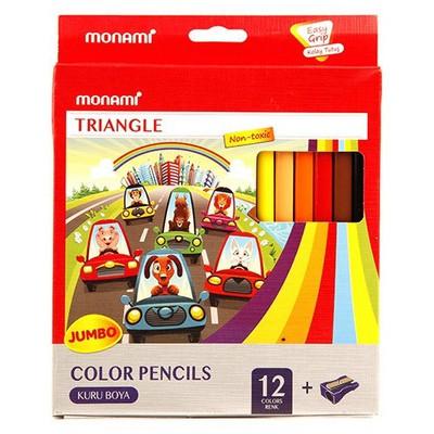 Monami Triangle Jumbo Üçgen Kuru Boya 12 Renk Resim Malzemeleri