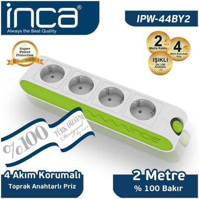 Inca IPW-44BY2 2 Metre %100 Türk Tasarımı 4'lü Akım Korumalı Işıklı Priz Yeşil Beyaz Akım Korumalı Priz