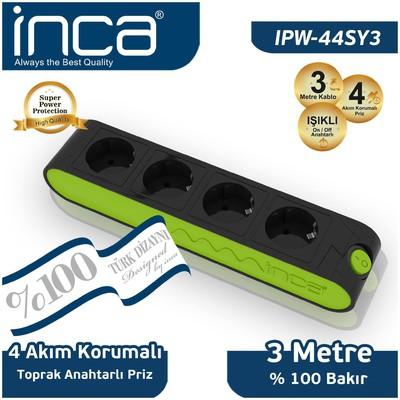 Inca Ipw-44sy3 Ipw-44ys3 Inca %100 Türk Tasarımı 4'lü Akım Korumalı Işıklı Priz 3m Si Akım Korumalı Priz