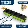 Inca IPW-44SY3 3mt 4'lü Akım Korumalı Işıklı Priz Siyah-Yeşil Akım Korumalı Priz