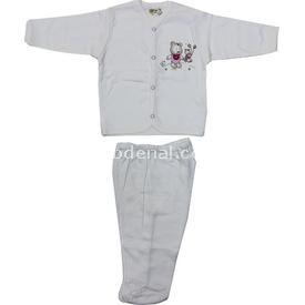 Bebitof 47700 Parkta Oynayan Ayıcıklar Zıbın Seti Krem-pembe 0 Ay (50-56 Cm) Kız Bebek Body