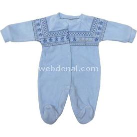 Babybal l 97468 Kadife Kilim Desenli  Mavi 3-6 Ay (62-68 Cm) Bebek Tulumu
