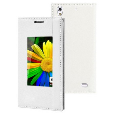 Microsonic General Mobile Discovery Air Kılıf Gizli Mıknatıslı View Delux Beyaz Cep Telefonu Kılıfı