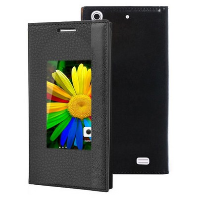 Microsonic General Mobile Discovery Air Kılıf Gizli Mıknatıslı View Delux Siyah Cep Telefonu Kılıfı