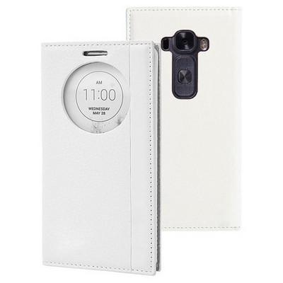Microsonic Lg G Flex 2 Kılıf Gizli Mıknatıslı View Delux Beyaz Cep Telefonu Kılıfı