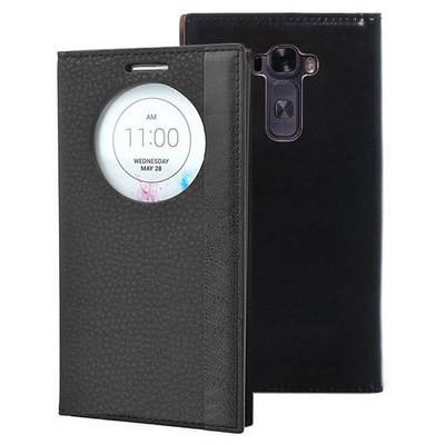 Microsonic Lg G Flex 2 Kılıf Gizli Mıknatıslı View Delux Siyah Cep Telefonu Kılıfı