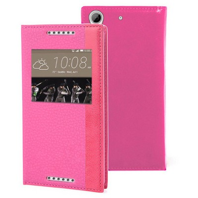 Microsonic Htc Desire 626 Kılıf Gizli Mıknatıslı View Delux Pembe Cep Telefonu Kılıfı