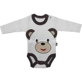 Babycool 1262510 Ayılı Uzunkol Body Krem-kahverengi 3-6 Ay (62-68 Cm) Erkek Bebek Body