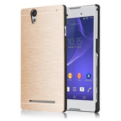 Microsonic Sony Xperia T2 Ultra Kılıf Hybrid Metal Gold Cep Telefonu Kılıfı
