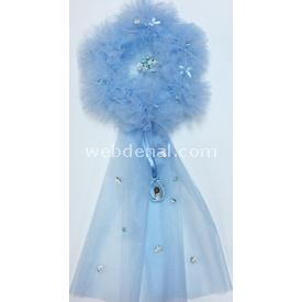 Handan Pofidik Çelenk Çiçekli Mavi Kapı Süsü