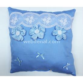 Handan Takı Yastığı Ekoseli Çiçek Mavi Dekoratif Süs