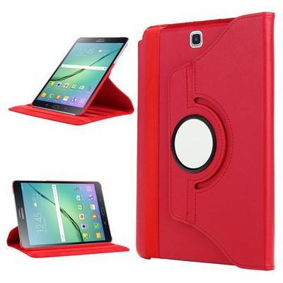 Microsonic Samsung Galaxy Tab S2 8.0'' Kılıf 360 Dönerli Stand Deri Kırmızı Tablet Kılıfı