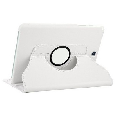 Microsonic Samsung Galaxy Tab S2 8.0'' Kılıf 360 Dönerli Stand Deri Beyaz Tablet Kılıfı