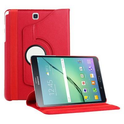 Microsonic Samsung Galaxy Tab S2 9.7'' Kılıf 360 Dönerli Stand Deri Kırmızı Tablet Kılıfı