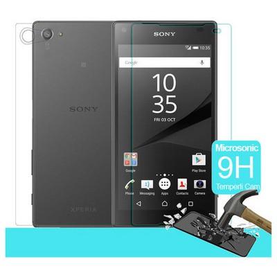 Microsonic Sony Xperia Z5 Compact (z5 Mini) Temperli Cam Ekran Koruyucu Ön + Arka Ekran Koruyucu Film