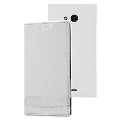 Microsonic Microsoft Lumia 535 Kılıf Gizli Mıknatıslı Delux Beyaz Cep Telefonu Kılıfı