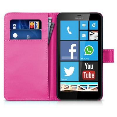 Microsonic Microsoft Lumia 640 Xl Kılıf Cüzdanlı Deri Pembe Cep Telefonu Kılıfı