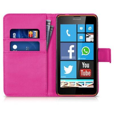 Microsonic Microsoft Lumia 640 Kılıf Cüzdanlı Deri Pembe Cep Telefonu Kılıfı