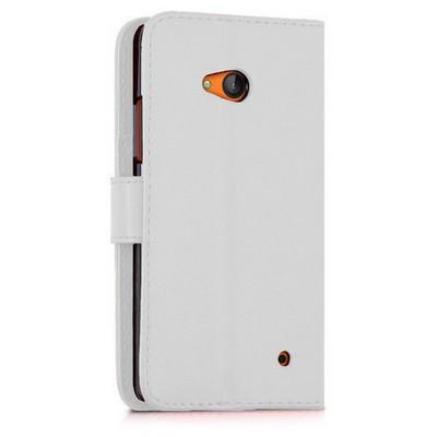 Microsonic Microsoft Lumia 640 Kılıf Cüzdanlı Deri Beyaz Cep Telefonu Kılıfı