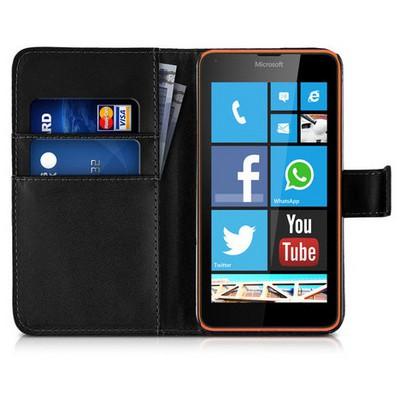 Microsonic Microsoft Lumia 640 Kılıf Cüzdanlı Deri Siyah Cep Telefonu Kılıfı