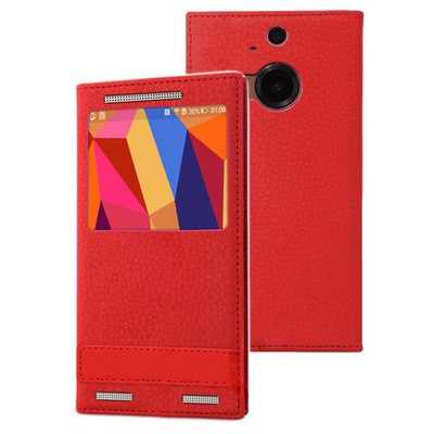 Microsonic Htc One M9+ Plus Kılıf Gizli Mıknatıslı View Delux Kırmızı Cep Telefonu Kılıfı