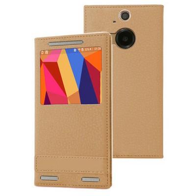 Microsonic Htc One M9+ Plus Kılıf Gizli Mıknatıslı View Delux Gold Cep Telefonu Kılıfı