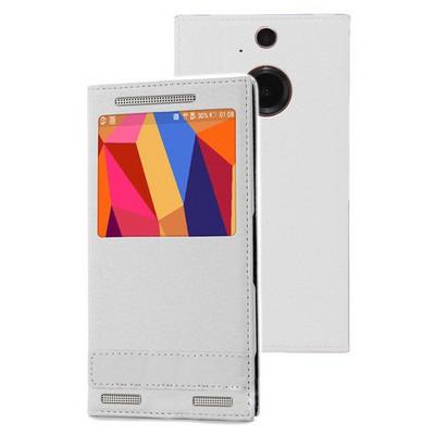 Microsonic Htc One M9+ Plus Kılıf Gizli Mıknatıslı View Delux Beyaz Cep Telefonu Kılıfı