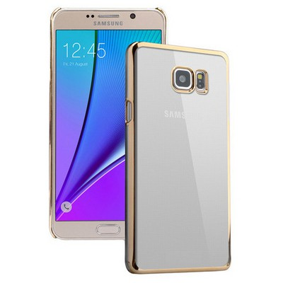 Microsonic Samsung Galaxy Note 5 Kılıf Metalik Transparent Gold Cep Telefonu Kılıfı
