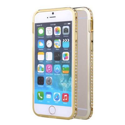 Microsonic Iphone 6s Plus Taşlı Metal Bumper Kılıf Sarı Cep Telefonu Kılıfı
