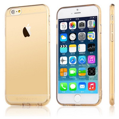 Microsonic Totu Design Soft Series Transparant Thin Iphone 6s Plus Kılıf Gold Cep Telefonu Kılıfı