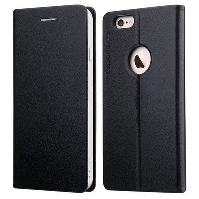 Microsonic Totu Design Book Series Iphone 6s Side Leather Standlı Kılıf Siyah Cep Telefonu Kılıfı
