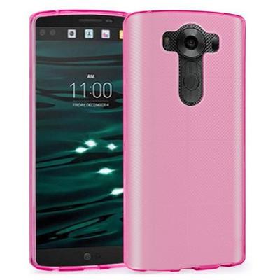 Microsonic Lg V10 Kılıf Transparent Soft Pembe Cep Telefonu Kılıfı