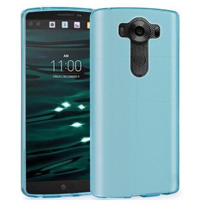 Microsonic Lg V10 Kılıf Transparent Soft Mavi Cep Telefonu Kılıfı