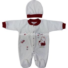Sebi Bebe 52307 Kadife Kalpli Ayılı Patikli  Kırmızı 0-3 Ay (56-62 Cm) Bebek Tulumu