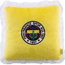 Fenerbahçe Lisanslı Logolu Minik Kare Yastık Sarı Peluş Oyuncaklar