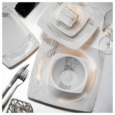 Kütahya Porselen Aliza Bone 83 Parça 25103 Desenli Yemek Takımı