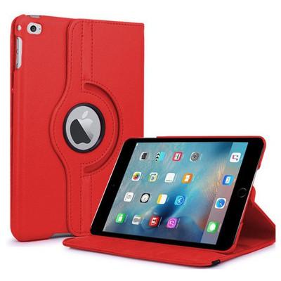 Microsonic Ipad Mini 4 Kılıf 360 Dönerli Stand Deri Kırmızı Tablet Kılıfı