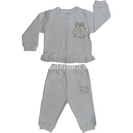 Aziz Bebe 2545 2li Bebek Takımı Ekru 9-12 Ay (74-80 Cm) Erkek Bebek Takım