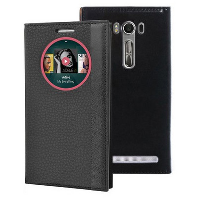 Microsonic Asus Zenfone 2 Laser 5.5'' Kılıf Gizli Mıknatıslı View Delux Akıllı Siyah Cep Telefonu Kılıfı