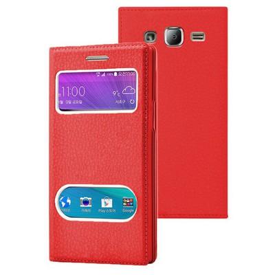 Microsonic Samsung Galaxy J2 Kılıf Dual View Gizli Mıknatıslı Kırmızı Cep Telefonu Kılıfı
