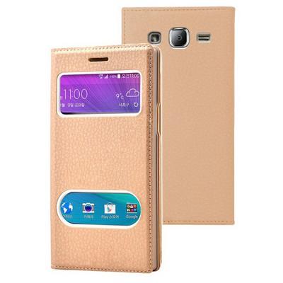 Microsonic Samsung Galaxy J2 Kılıf Dual View Gizli Mıknatıslı Gold Cep Telefonu Kılıfı