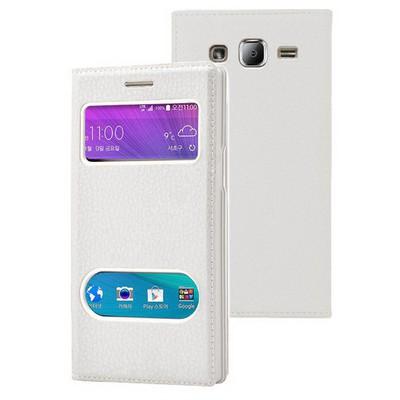 Microsonic Samsung Galaxy J2 Kılıf Dual View Gizli Mıknatıslı Beyaz Cep Telefonu Kılıfı