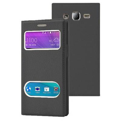 Microsonic Samsung Galaxy J2 Kılıf Dual View Gizli Mıknatıslı Siyah Cep Telefonu Kılıfı
