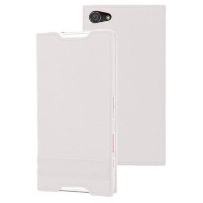 Microsonic Sony Xperia Z5 Compact (z5 Mini) Kılıf Gizli Mıknatıslı Delux Beyaz Cep Telefonu Kılıfı