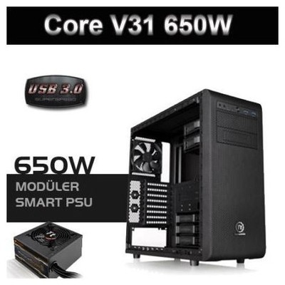 Thermaltake Ca-3c8-65m1we-00 Core V31 Sp650w 80+bronze Psu, Usb 3.0 Pencerli Kasa