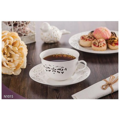 Neva N1015 Daisy Dantels 12 Prç. Beyaz Kahve Takımı Fincan Takımı