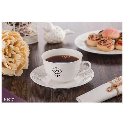 Neva N1017 Rosemary Dantels 12 Prç. Beyaz Kahve Takımı Fincan Takımı