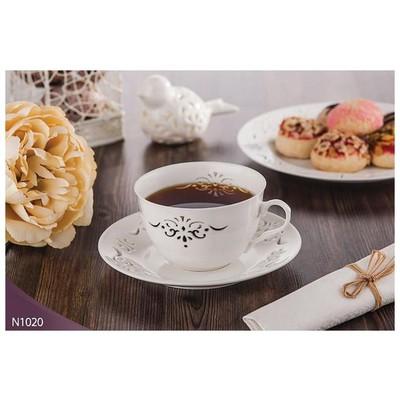 Neva N1020 Palace Dantels 12 Prç. Beyaz Kahve Takımık Fincan Takımı