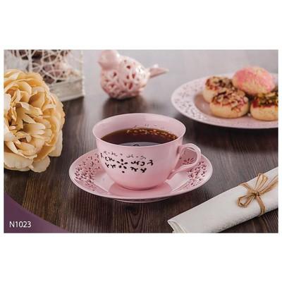 Neva N1023 Daisy Dantels 12 Prç. Pembe Kahve Takımı Çay Seti